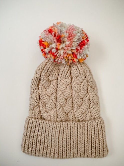 Size 0-3yrs Fruit Stripes Pom Hat