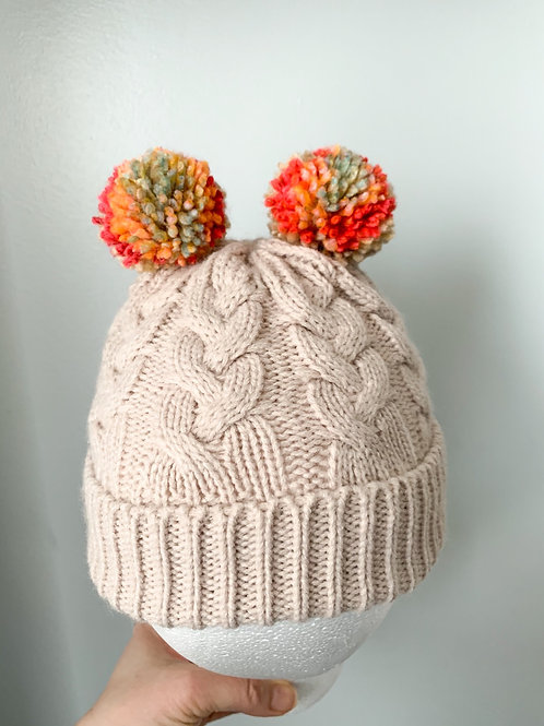 Size 0-3yrs Tutti Fruity Double Pom Hat