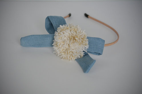 Denim PomPom Headband