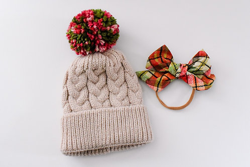 Baby Holiday Pom Hat and Bow Set