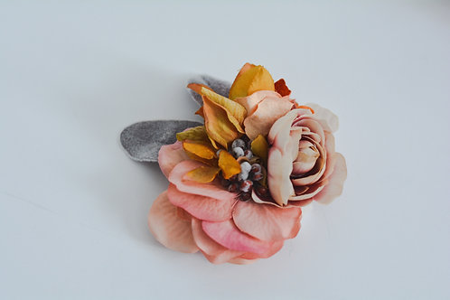 Mauve & Mustard Floral Clip