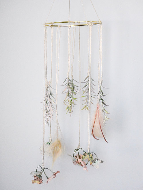 Boho Feathers and Floral Mobile