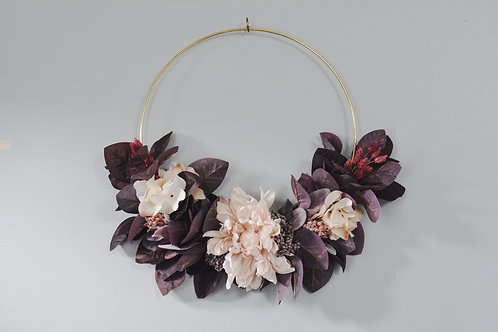 Burgundy Leaves and Ivory Florals Fall Wreath