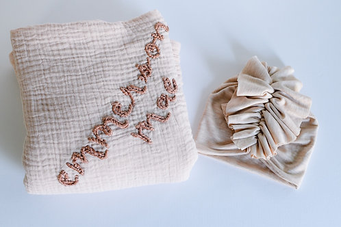 Personalized Hand embroidered Name Swaddle gift set