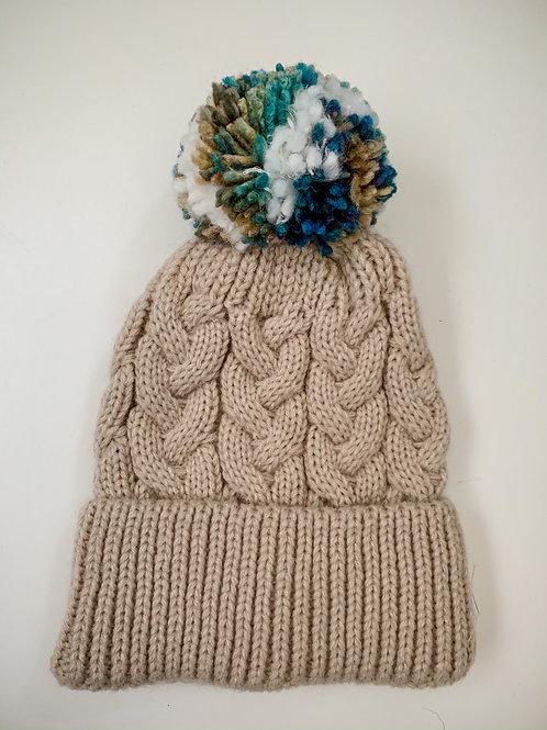 Size 0-3yrs Neutral Blues Pom Hat