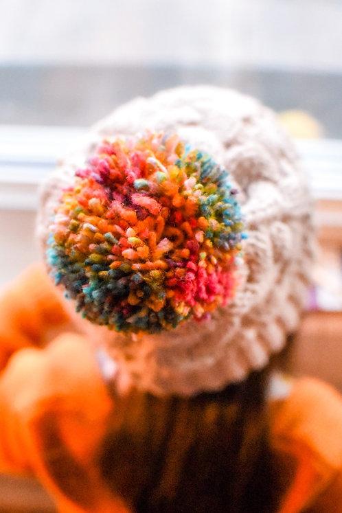 Rainbow POM Winter Hat