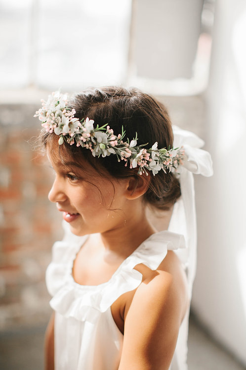 The Willow Floral Silk Bow Crown