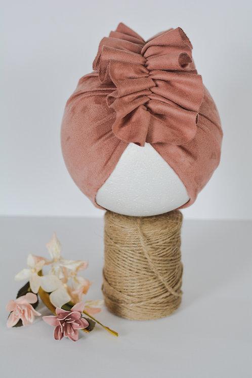 Dark Blush Ruffled Turban
