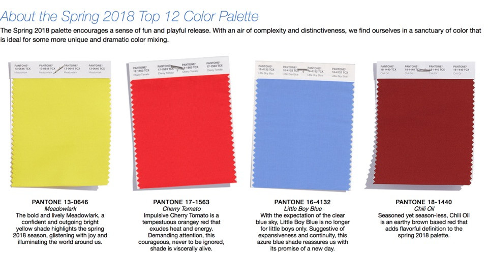 Pantone Spring/Summer Color Story