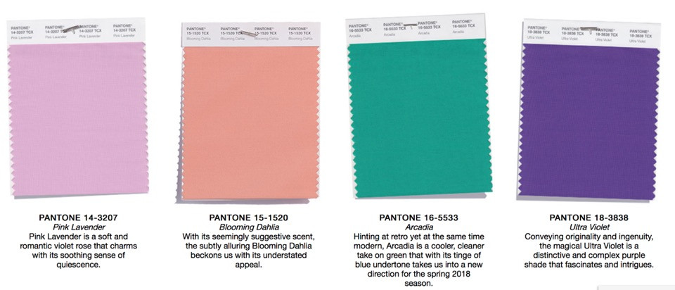 Pantone Spring 2018 Color Palette