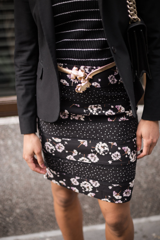 White House Black Market Mixed Print Bumble Bee Pencil Skirt