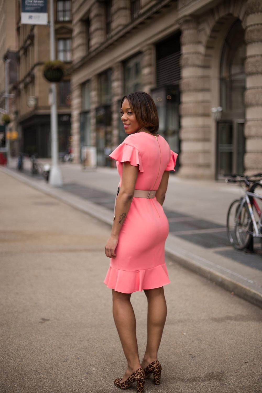 Channy Flounce Sheath Dress