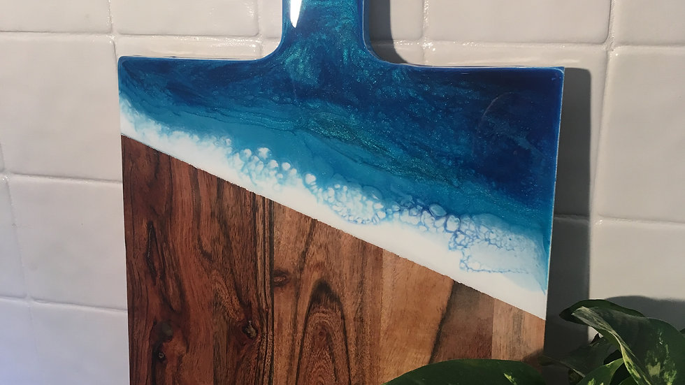 Cheeseboard ocean colours - square paddle
