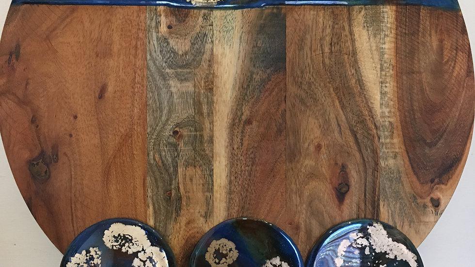 Cheese board & six matching coasters