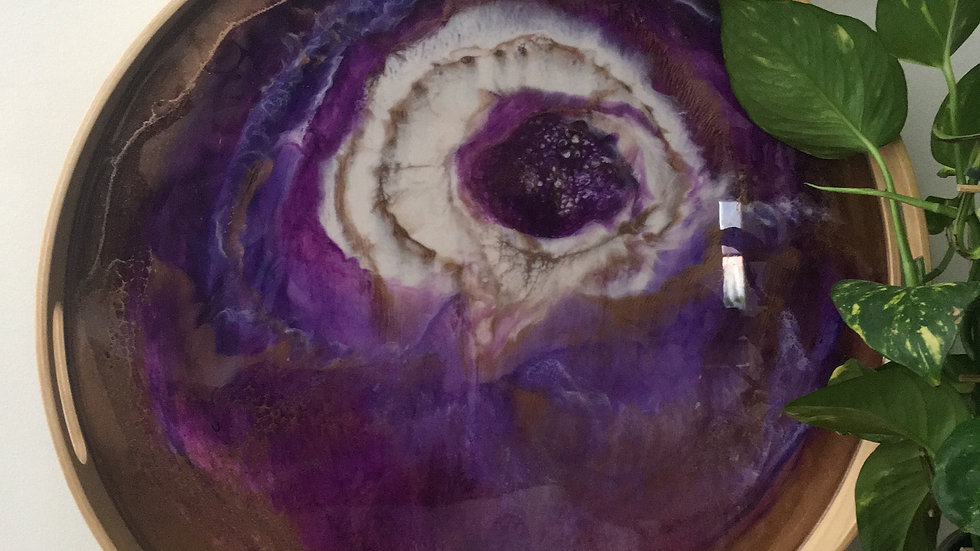 Large'Galaxy' Tray is Mauve, gold & white