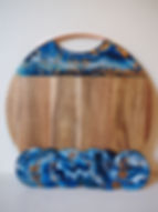 Large Round Resin Art Cheeseboard & coasters