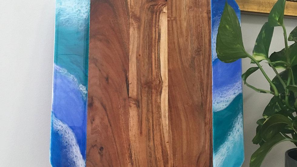 Large 'Ocean waves' Cheeseboard with two metal handles