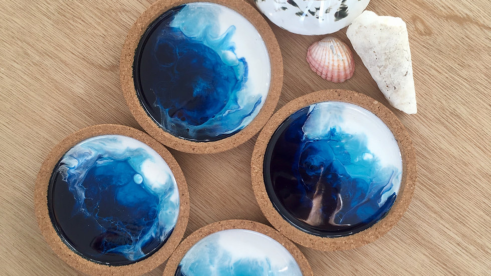 Sea Foam Ocean Resin Coasters set of four