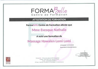 attestation de formation massage Hawaien Lomi Lomi à Moulès et Baucels Ganges