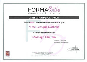 attestation de formation massage tibétain à Moulès et Baucels Ganges