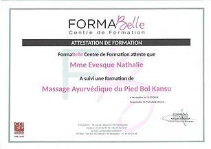 attestation de formation massage ayurvédique du pied bol kansu à Moulès et Baucels Ganges