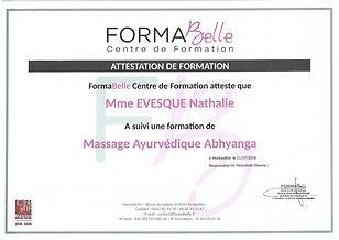 attestation de formation massage ayurvédique abthyange à Moulès et Baucels Ganges