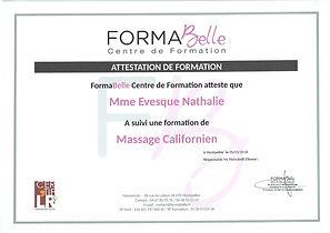 attestation de formation massage californien à Moulès et Baucels Ganges
