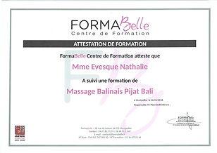 attestation de formation massage balinais pijat bali à Moulès et Baucels Ganges