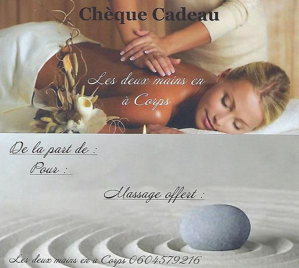 Chèque cadeau massage les deux mains en à corps bon pour massage