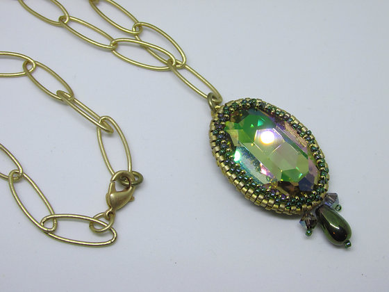 Emerald and Lilac City Pendant Necklace