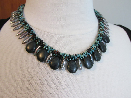 Kumihimo Colorways- Stonefalls Necklace