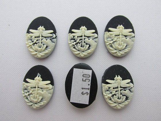 25x18mm Resin Cameo Dragonfly