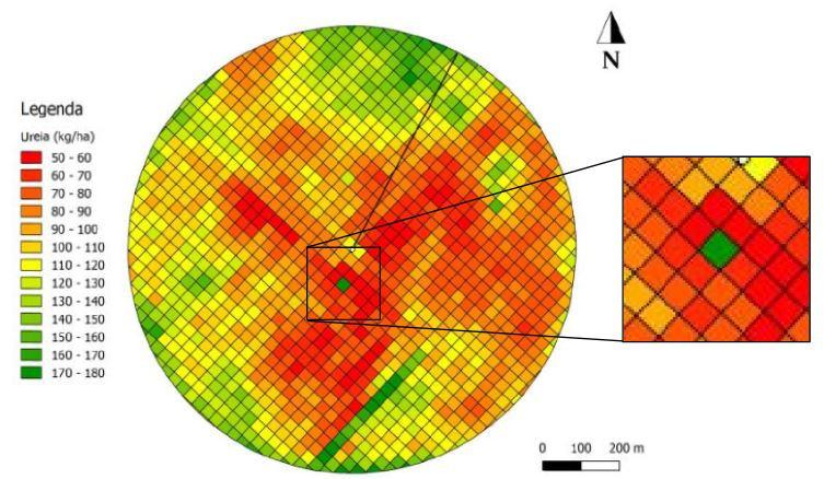 Mapa de aplicação de ureia feito com Smart-N da Auster Tecnologia
