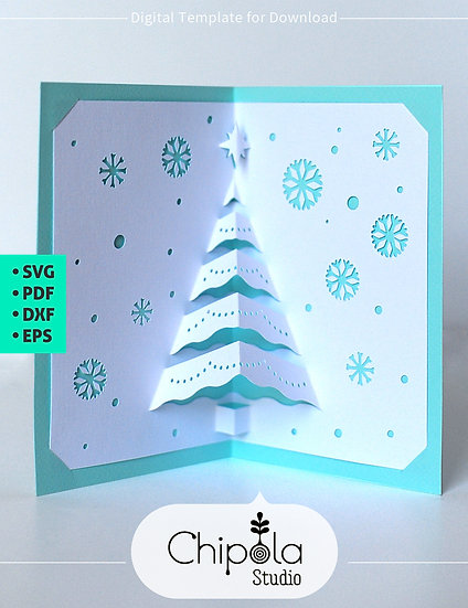Christmas tree pop up card Digital Downloadable Template