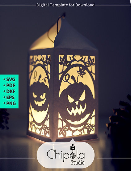 Halloween Pumpkin Lantern Digital Downloadable Template