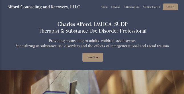 Substance Abuse Counselor & Therapist   Squarespace Brochure Site