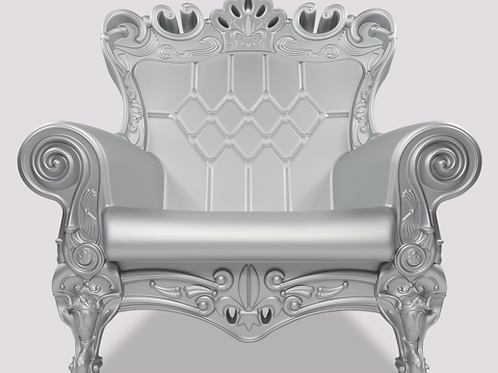 Queen of Love Armchair - Silver Matte