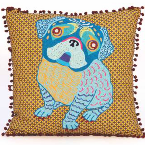 Bulldog Embroidered Pillow