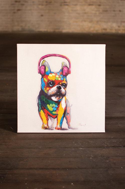 Boston Terr. Headphones Painting