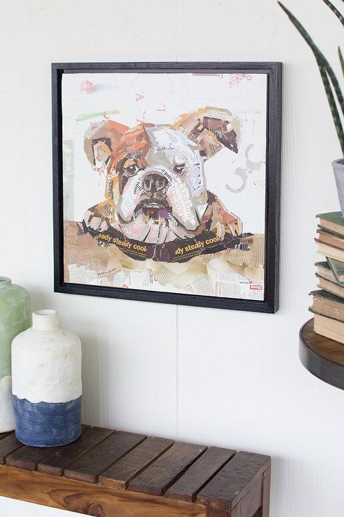 Bulldog Recycled Magazine Scrap Art (Framed)