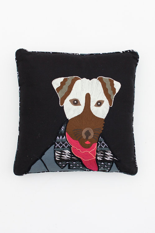 Gentleman Dog Embroidered Pillow