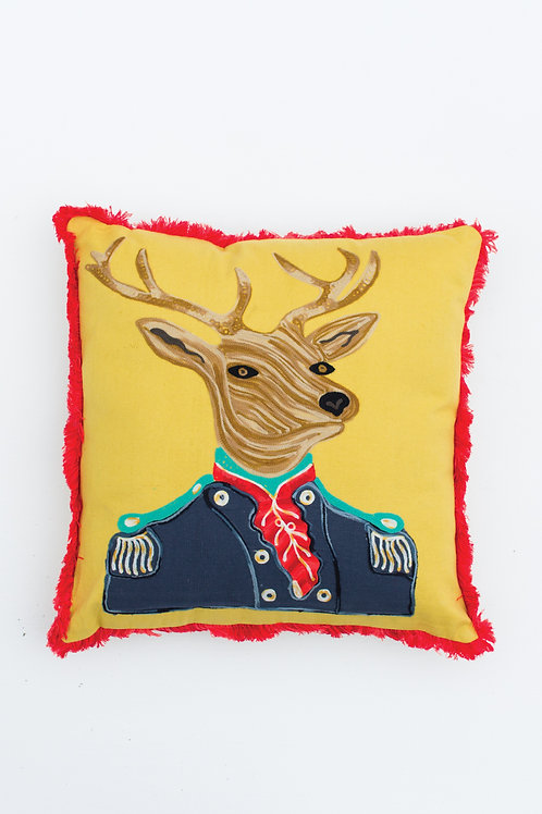 Military Deer Embroidered Pillow