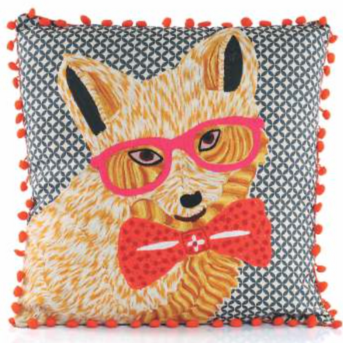 Fox with Glasses Embroidered Pillow