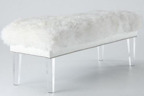 Linda Sheepskin Lucite Bench