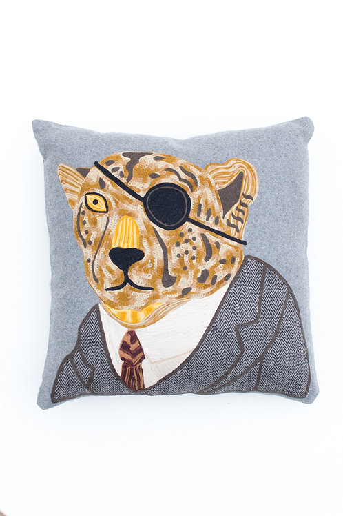 Leopard Eyepatch Embroidered Pillow