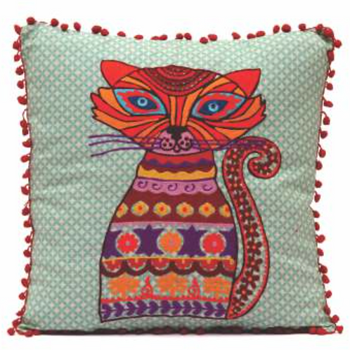 Cat Embroidered Pillow