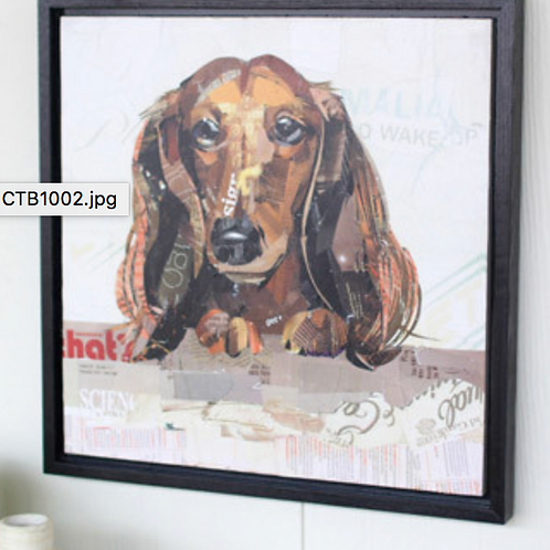 Dachshund Recycled Magazine Scrap Art (Framed)