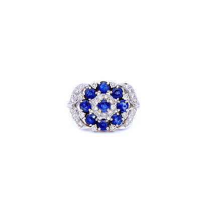 Lunia Clusters Blue Sapphires Diamonds Ring