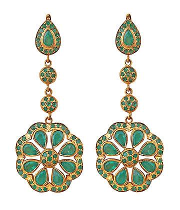 Beautiful Chandelier Emerald Earrings