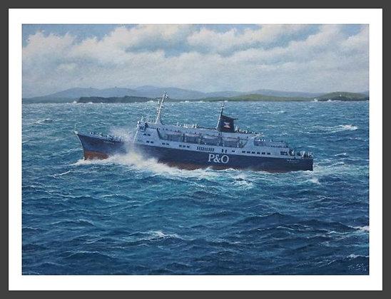 "The ferry ""St. Sunniva"" off Mousa"